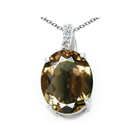 (Tommaso Design Oval 10x8mm Genuine Smoky Quartz Pendant Necklace)