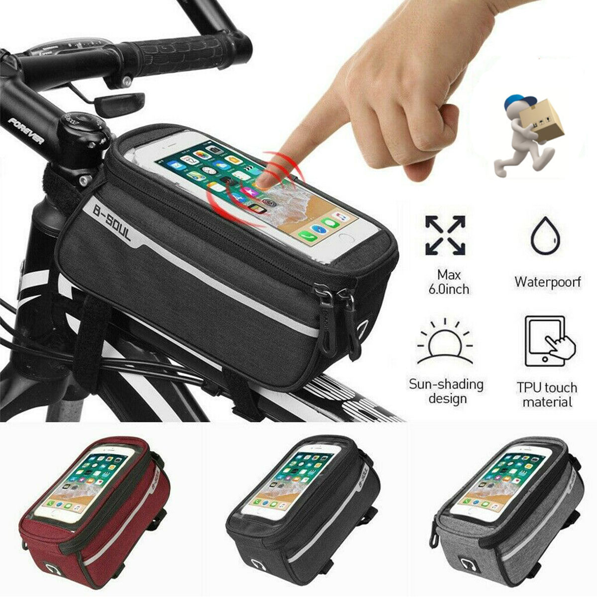 Waterproof MTB Mountain Bike Frame Front Bag for Bicycle Mobile Phone Holder