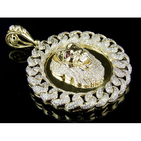 10k yellow gold lion medallion diamond cuban link frame pendant 10k yellow gold lion medallion diamond cuban link frame pendant charm 3ct aloadofball Choice Image