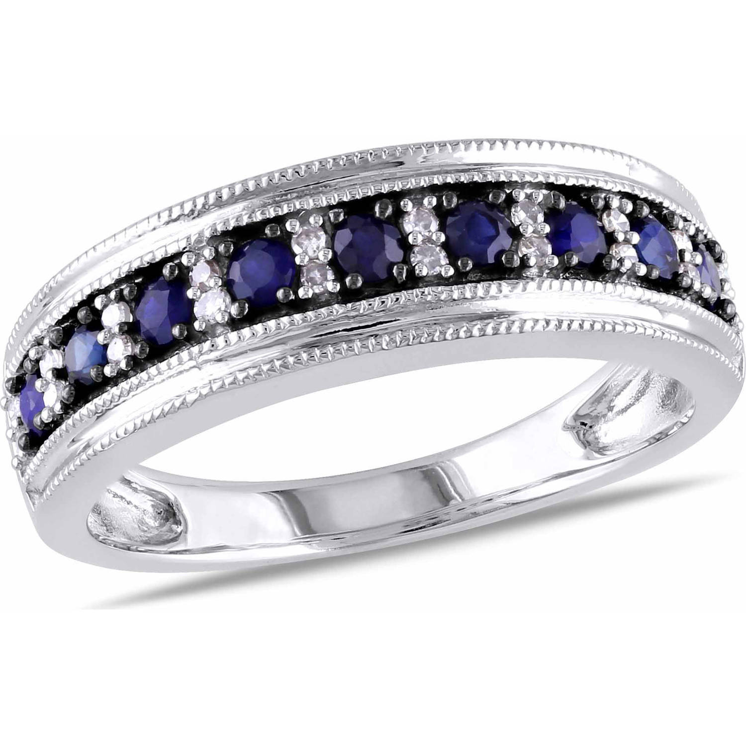 Tangelo 1 2 Carat T.G.W. Blue Sapphire and 1 10 Carat T.W. Diamond 10kt White Gold Semi-Eternity Anniversary Ring by Delmar Manufacturing LLC