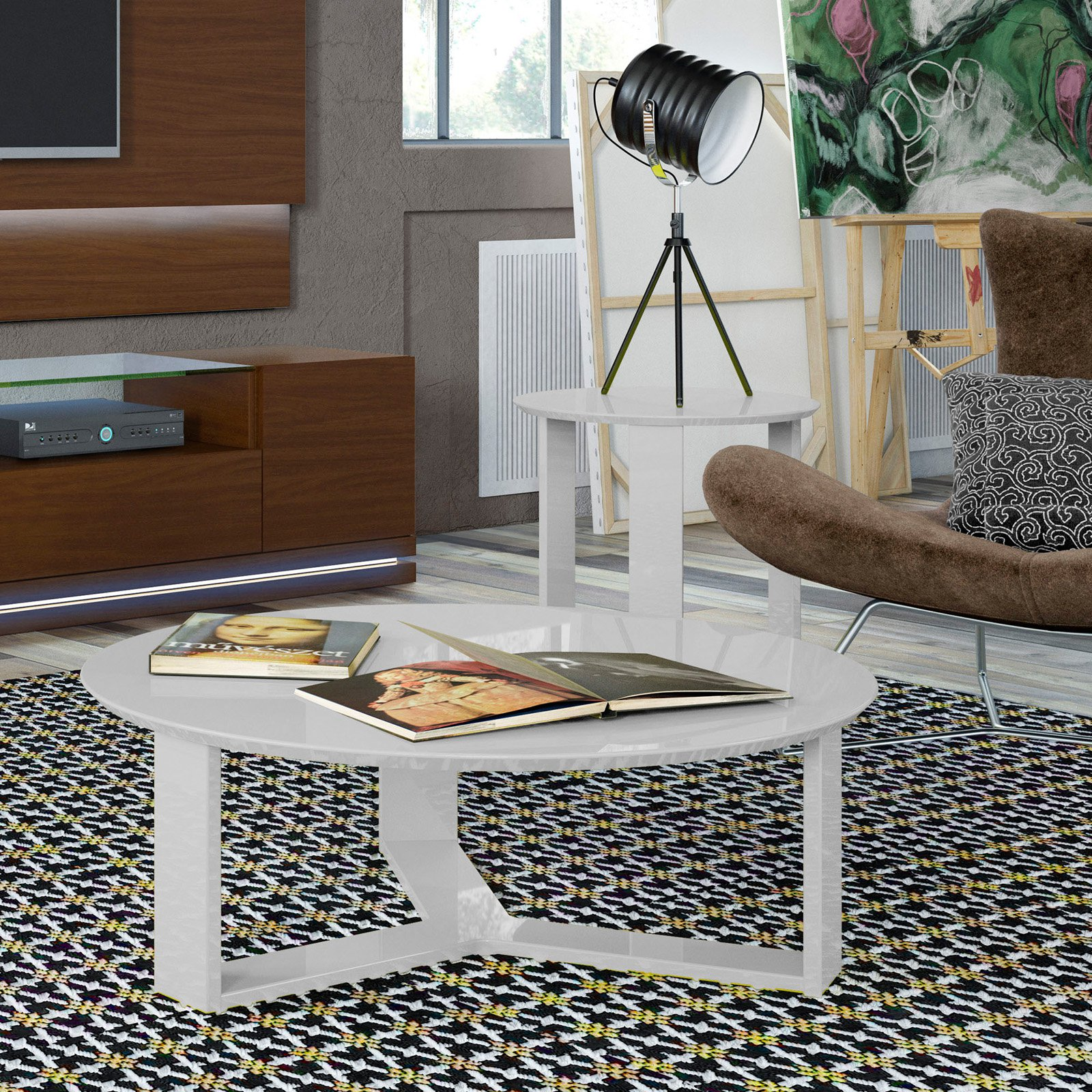 Manhattan Comfort Madison Coffee Table and End Table Set