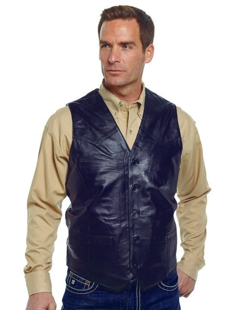 Cripple Creek Outerwear Vest Mens Leather Button Front ML3059T