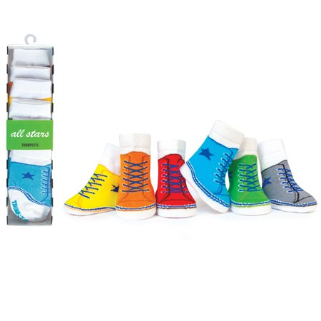 Trumpette All Stars Baby Boys 6 Pairs of Hi-Tops Sneaker Shoes Socks with White Crew Socks - Look Like Converse Chuck Taylors - Infant 6 pack of Baby Socks - Multi-Colored 0-12 Months