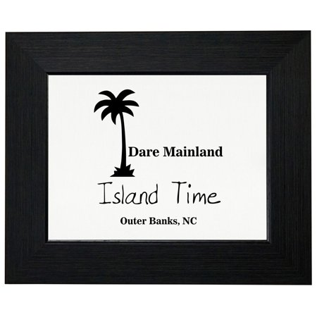 Outer Banks - Dare Mainland, NC - Island Time Palm Tree Framed Print Poster Wall or Desk Mount Options