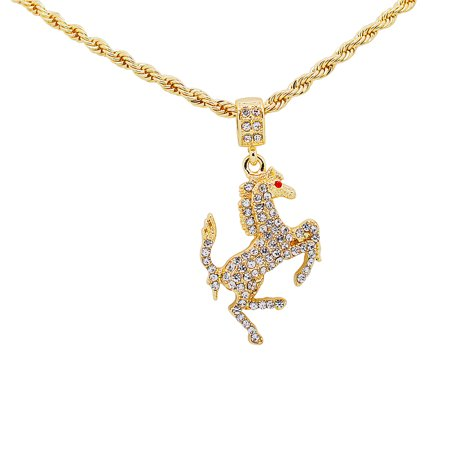 "14K Gold Plated Hip Hop Bling Iced Out Italian Horse Ferrari Stallion Pendant with 24"" Rope Chain"