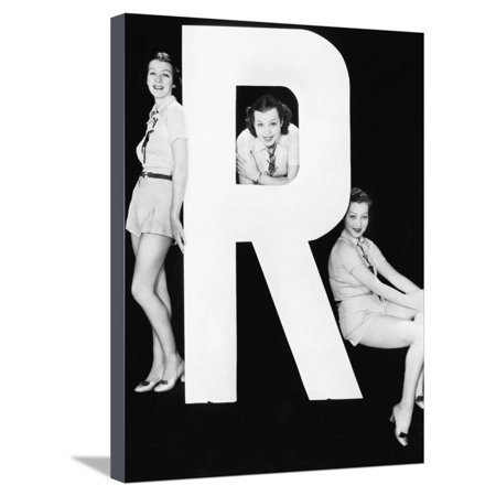 Three Women Posing with Huge Letter R Stretched Canvas Print Wall Art By Everett Collection