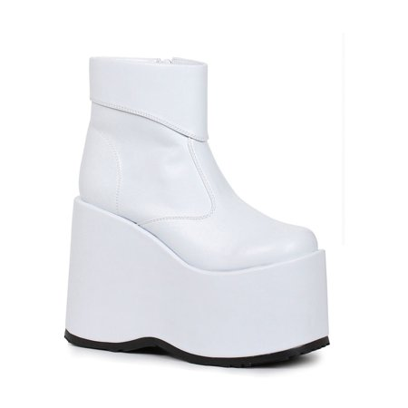 Mens White Frank Platform 60s Ankle Boots (60s White Boots)