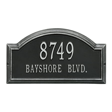 Personalized Whitehall Products Standard 2-Line Providence Arch Wall Address Plaque in Black/Silver