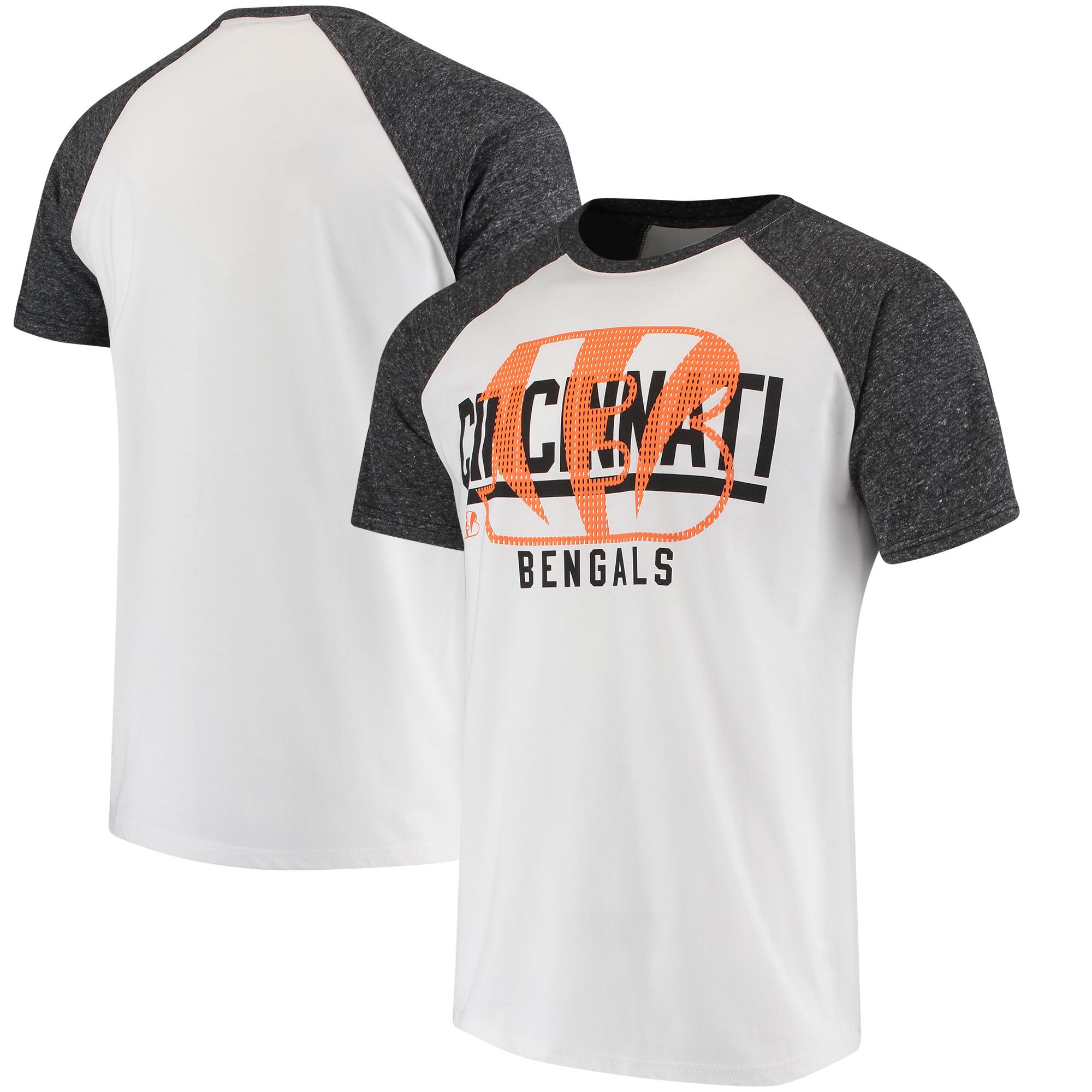 Cincinnati Bengals Hands High Heritage Raglan Tri-Blend T-Shirt - White/Heathered Gray