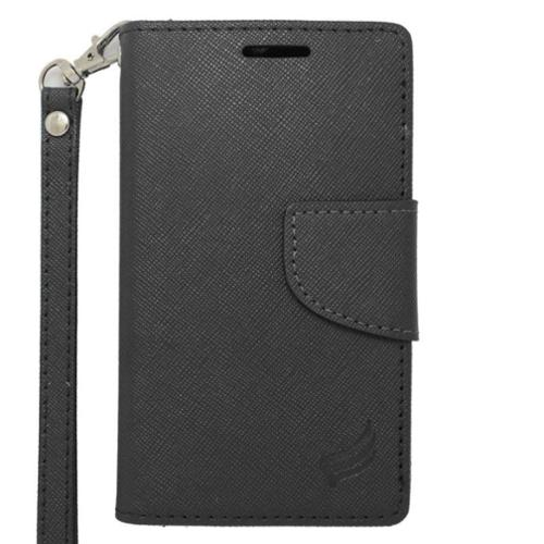 Insten Wallet Leather Stand Phone Case with Lanyard & Card slot For Alcatel One Touch Evolve 2 - Black
