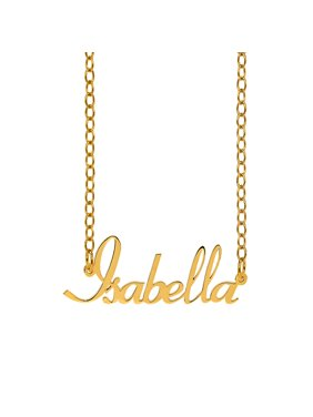 """Personalized Sterling Silver or 14K Gold Plated Sterling Silver """"Isabella"""" Script Name Necklace w/18"""" Link chain"""
