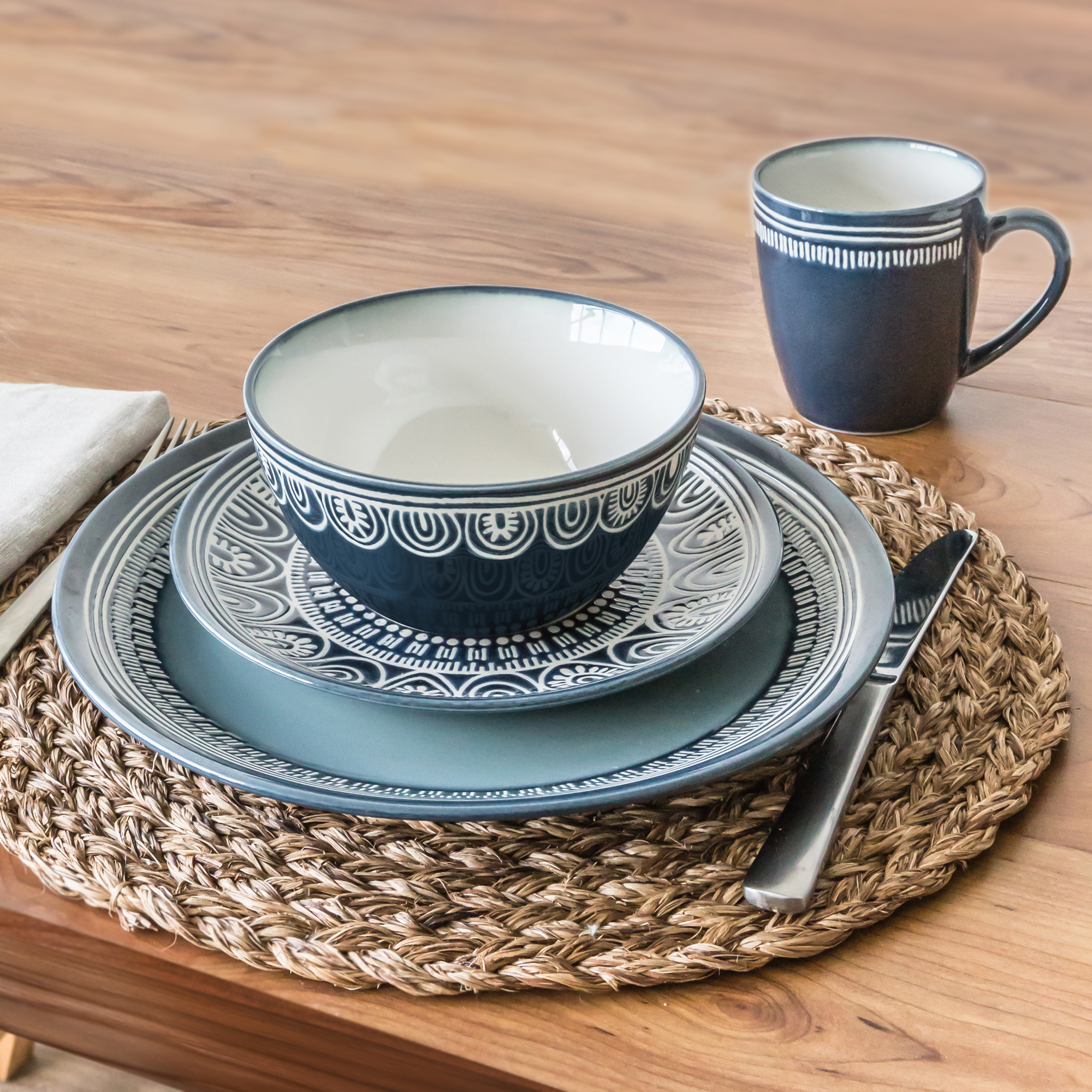 Better Homes and Gardens Teal Medallion 16 Piece Dinnerware Set Dark Teal & Better Homes and Gardens Teal Medallion 16 Piece Dinnerware Set ...