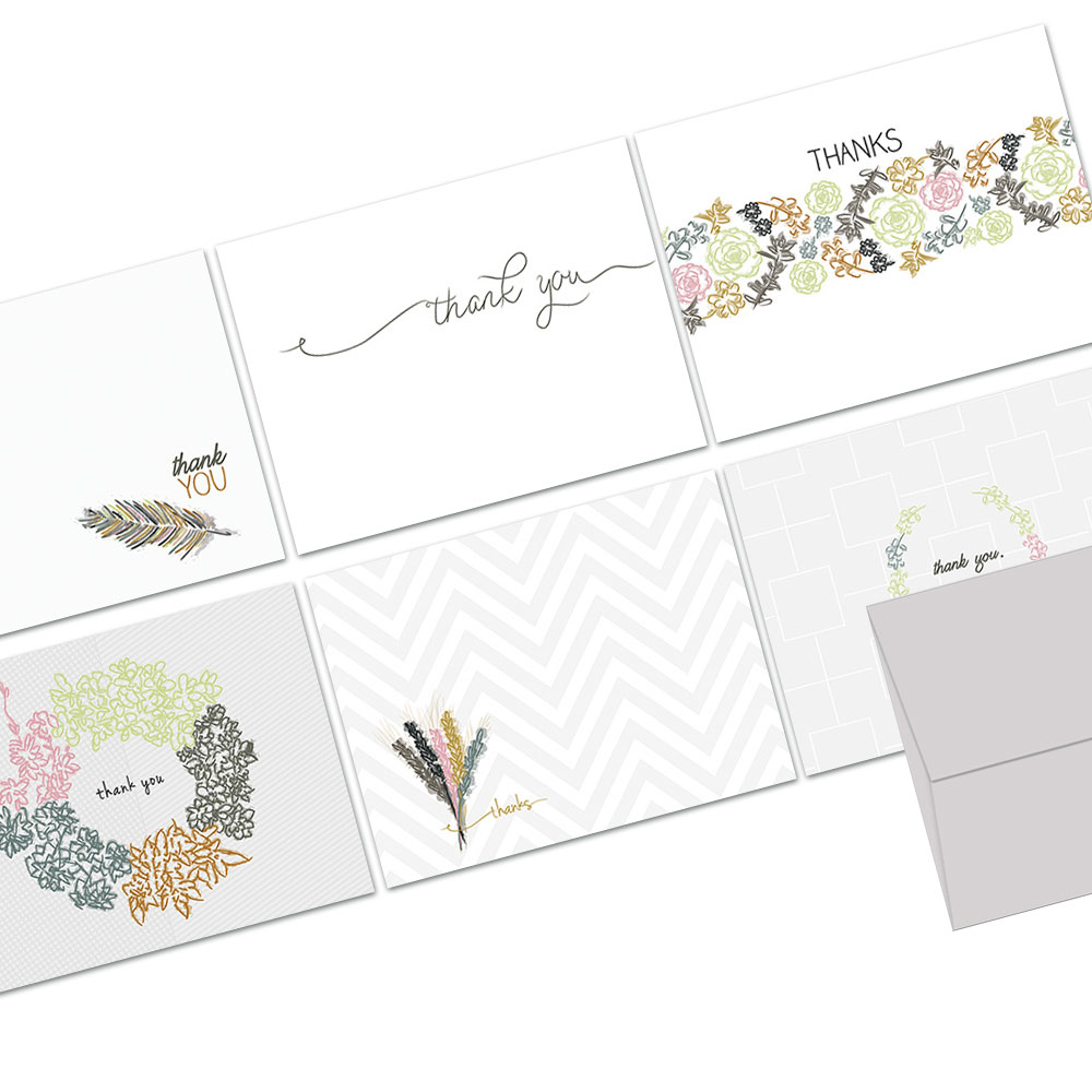 72 Thank You Cards  - Embellished Thank You - 6 Designs  - Blank Cards - Gray Envelopes Included