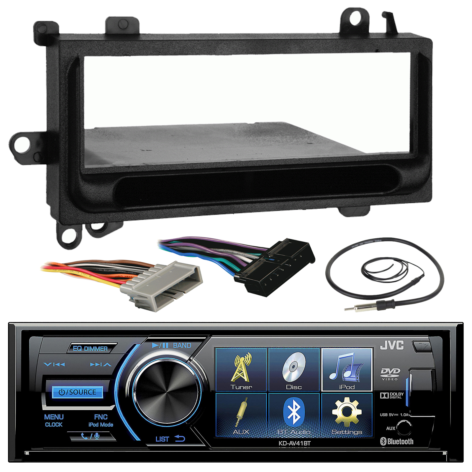 "JVC KD-AV41BT 3"" Inch Bluetooth In-Dash CD Car Stereo Audio Receiver Bundle"