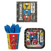 """Power Rangers Party Bundle: 16x 7"""" Plates, 16x Napkins, 16x 9oz Paper Cups"""