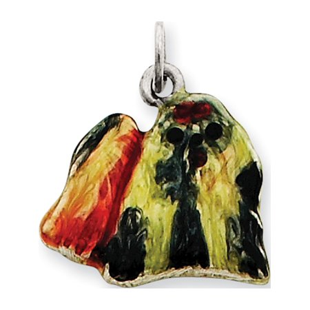 Shih Tzu Pendant - Leslies Fine Jewelry Designer 925 Sterling Silver Enameled Profile Shih Tzu (18x15mm) Pendant Gift