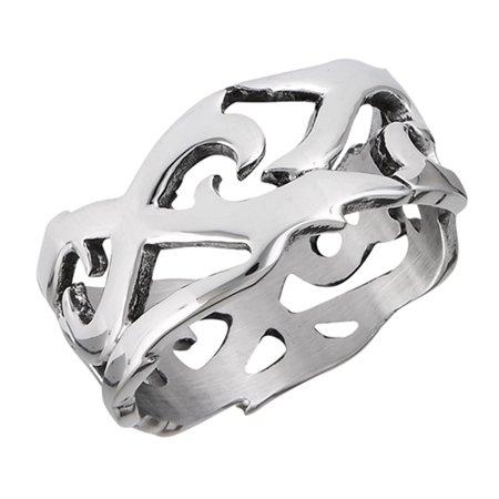 Filigree Eternity Script Cutout Wedding Ring New Stainless Steel Band Size 8 - Wedding Script