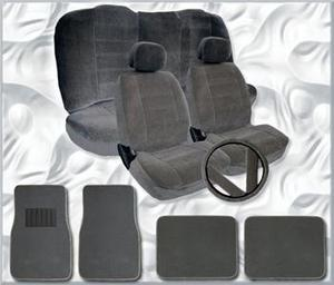 9 Pc Car Seat Covers Set Black and Charcoal w// 4 Pc Charcoal Carpet Floor Mats