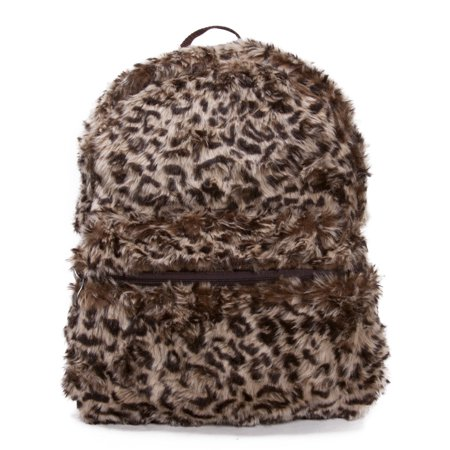 Faux Fur Animal Print Backpack