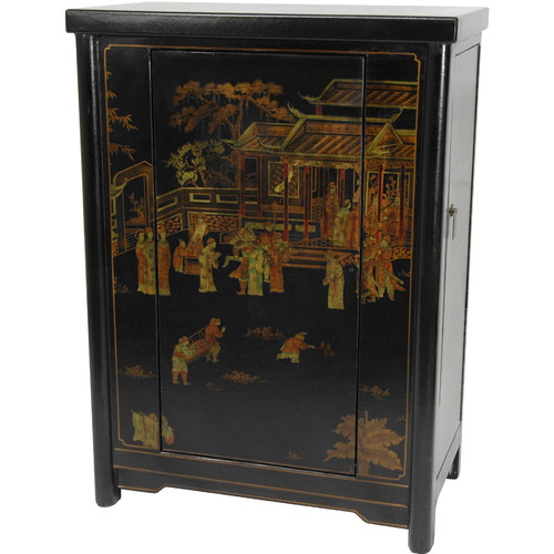 Black Lacquer Wine Cabinet by Oriental Furniture