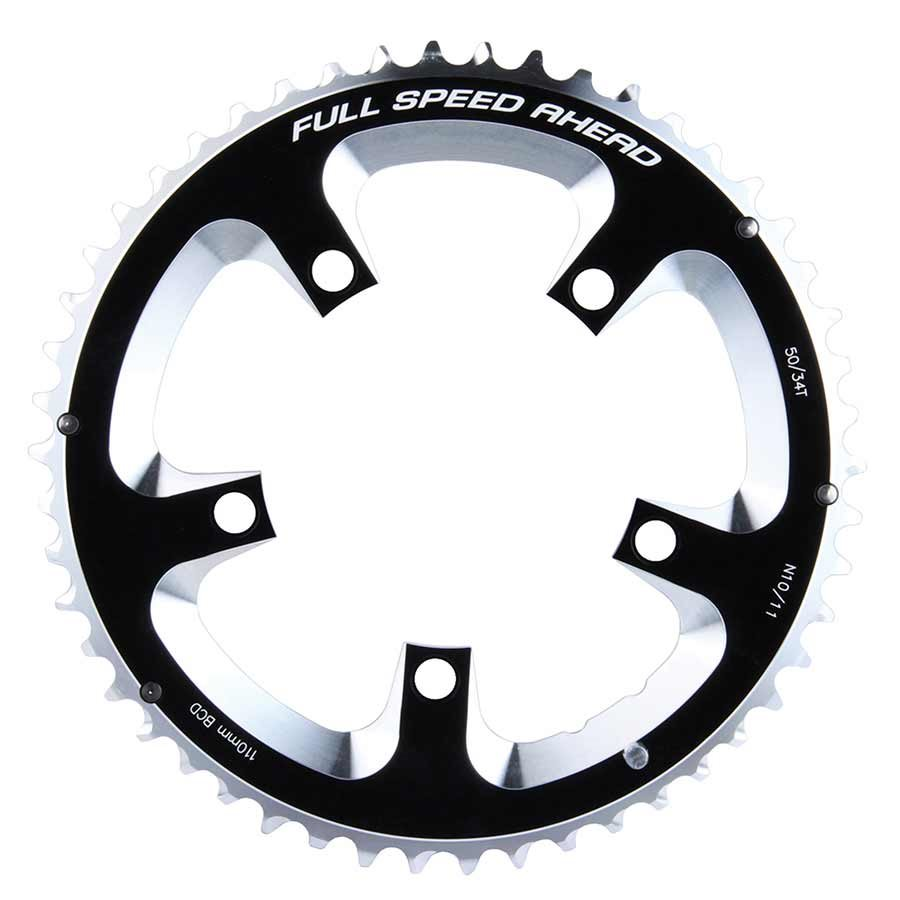 FSA, 50T, 10/11sp., BCD: 110mm, 5 Bolts, Super Road, Outer Chainring, For Double, Aluminum, Black, 371-0250A