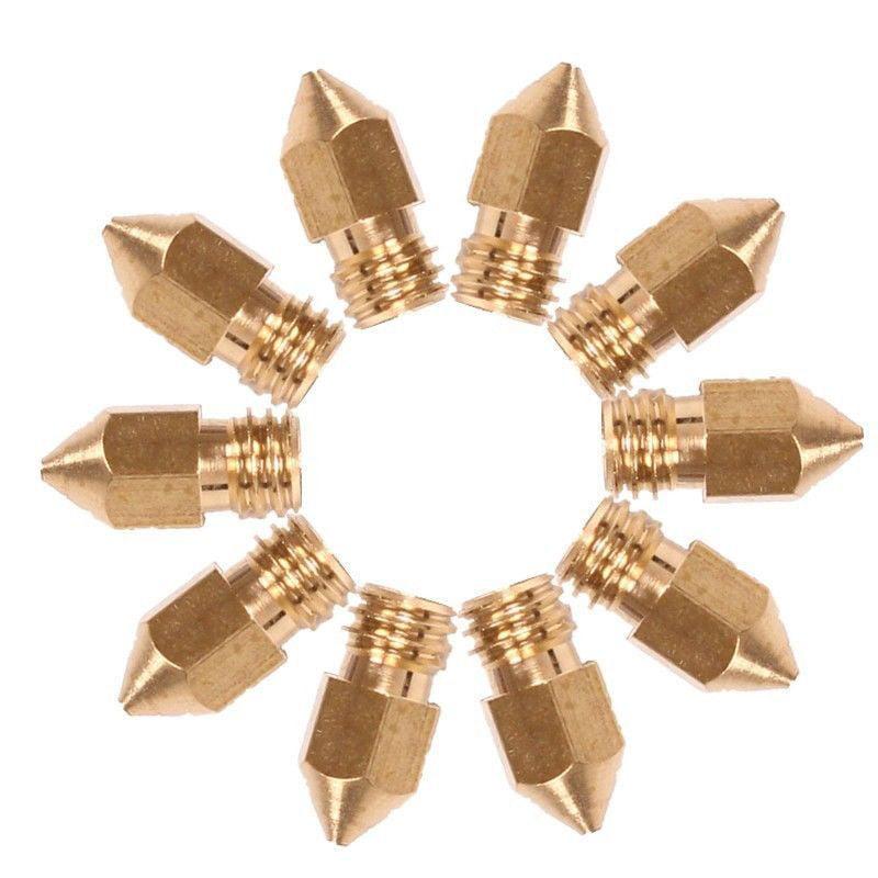 10Pcs 0.4mm Brass Nozzle for MK8 Extruder V5 V6 Print Head 3D Printer Parts Set