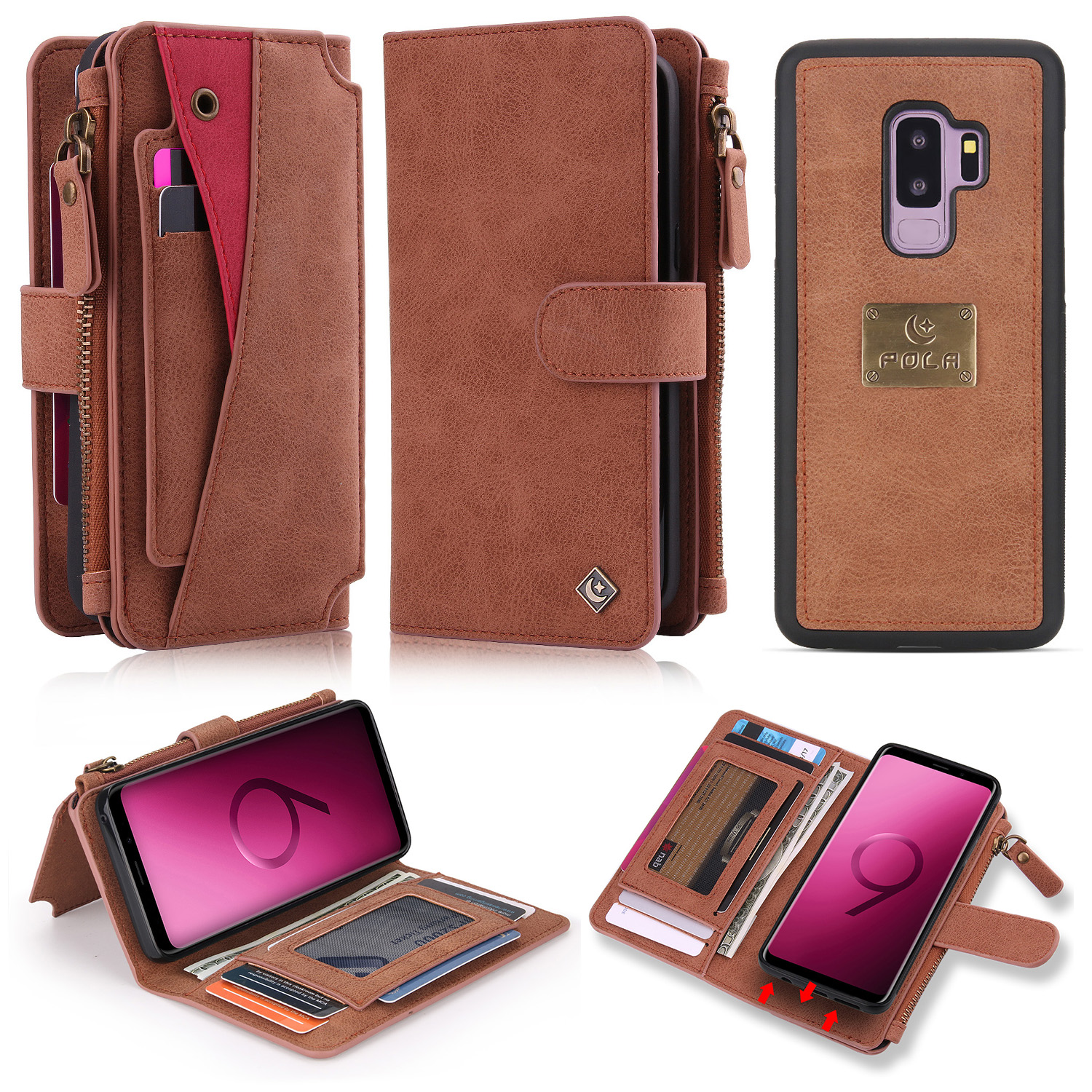 Galaxy S9 Case, Allytech PU Leather Folio Flip Stand Detachale Wallet Case Build In Metal Plate for Magnetic Car Mount Cards Holder Purase Clutch Zipper Wallet Cover for Samsung Galaxy s9, Brown
