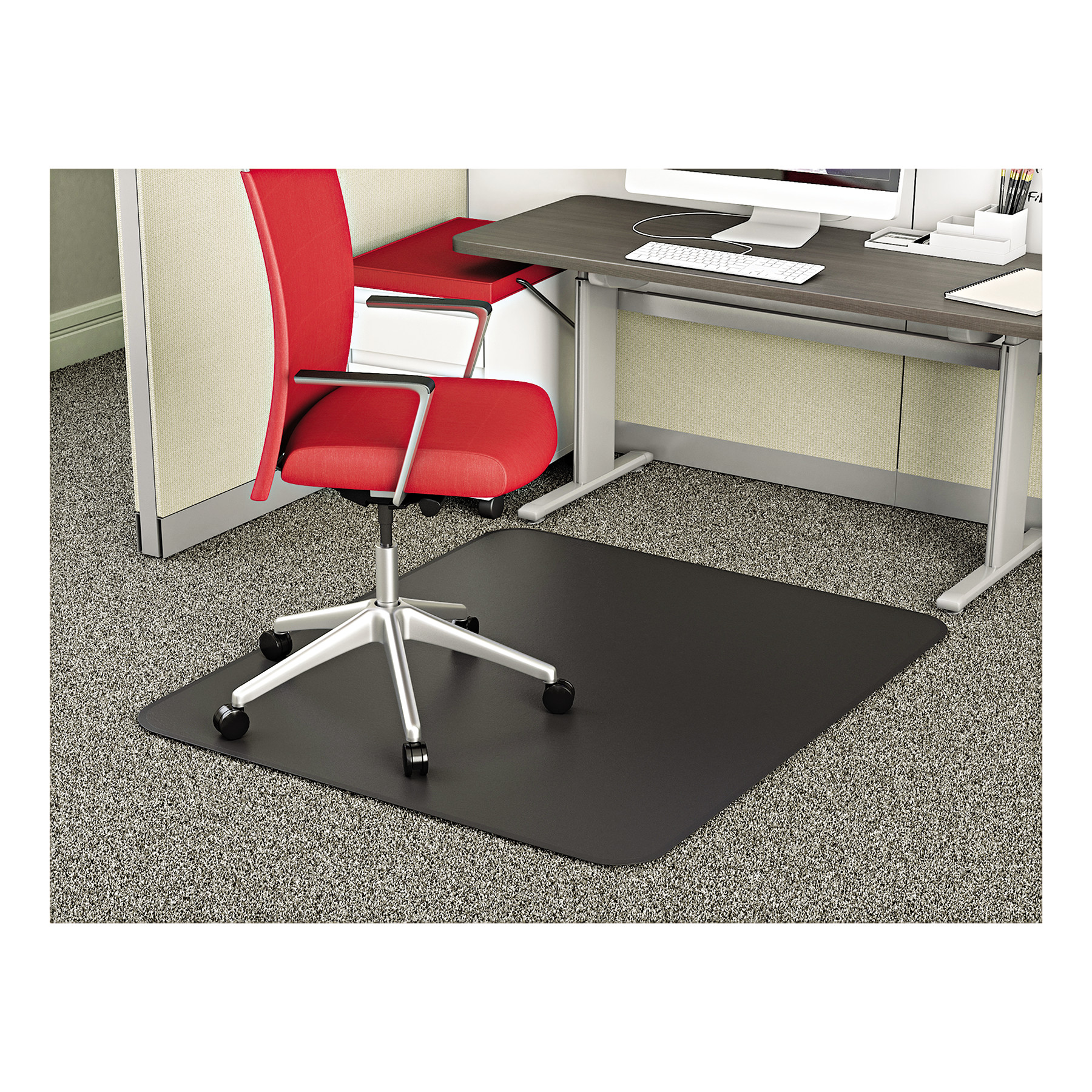 Deflecto SuperMat 45 x 53 Chair Mat for Medium Pile Carpet, Rectangular, Black