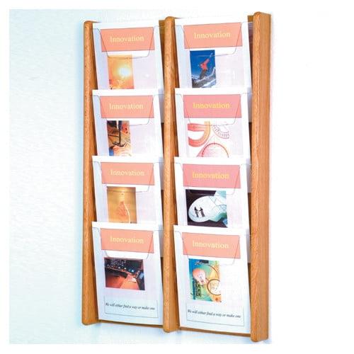 8-Pocket Solid Wood Wall Magazine Rack