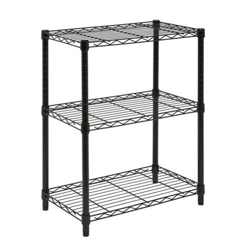 "Honey-can-do Shf-01905 3-tier Steel Urban Adjustable Storage Shelving Unit, Black - 2 Compartment[s] - 3 Tier[s] - 30"" Height X 14"" Width X 24"" Depth - Black - Steel (shf-01905)"