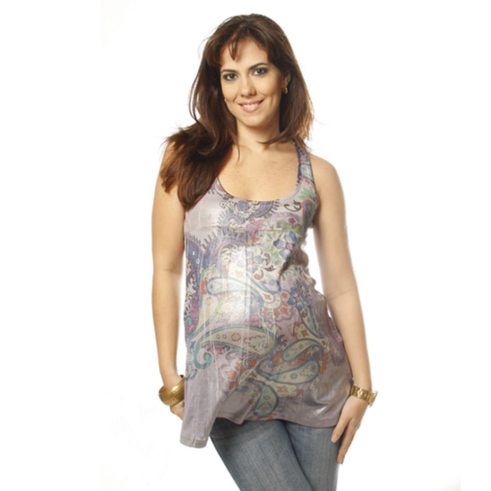 Love My Belly Frosted Paisley Maternity Tank Shirt Womens Size S-L