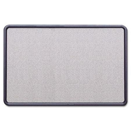 Contour Fabric Bulletin Board  36 x 24  Light Blue  Plastic Navy Blue Frame Boone Plastic Frame Fabric