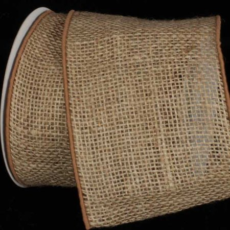 Natural Brown Burlap Wired Craft Ribbon 5