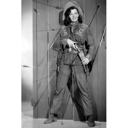 Jane Russell in The Paleface cowgirl outfit w/gun arrows in wall smiling 24x36 Poster (Cow Girl Outfits)