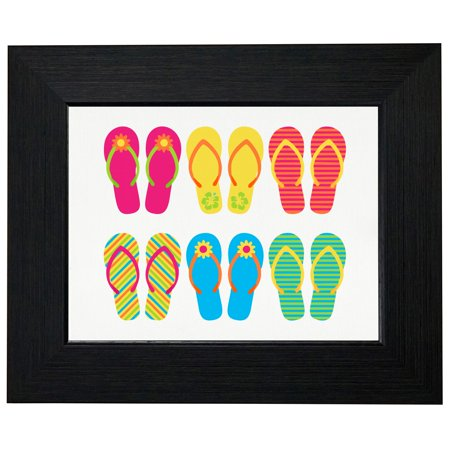 Beach Theme Parties (Colorful Flip Flops Graphic - Beach Party Theme Framed Print Poster Wall or Desk Mount)