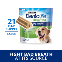 Purina DentaLife Large Breed Dog Dental Chews, ActivFresh Daily Oral Care Large Chews, 21 ct. Pouch