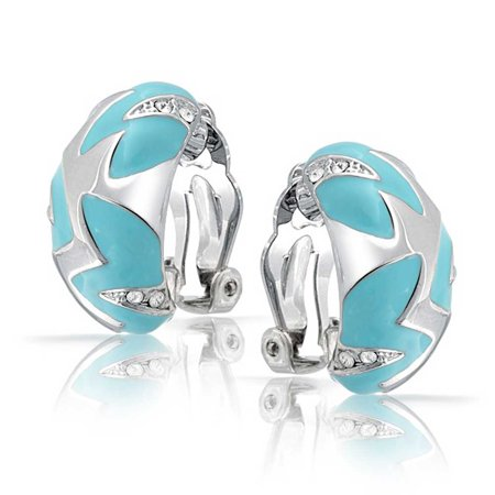 Geometric Simulated Turquoise Blue Enamel Zig Zag Half Hoop Clip On Earrings For Women Silver Plated Brass - image 3 of 5