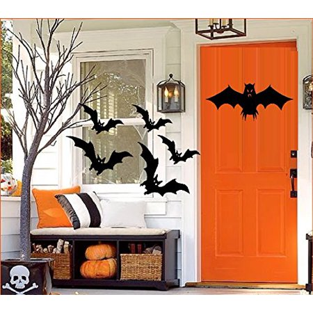 HALLOWEEN DECOR ~ BATS #2 QTY 6 ~ HALLOWEEN: WALL OR WINDOW DECAL, 5