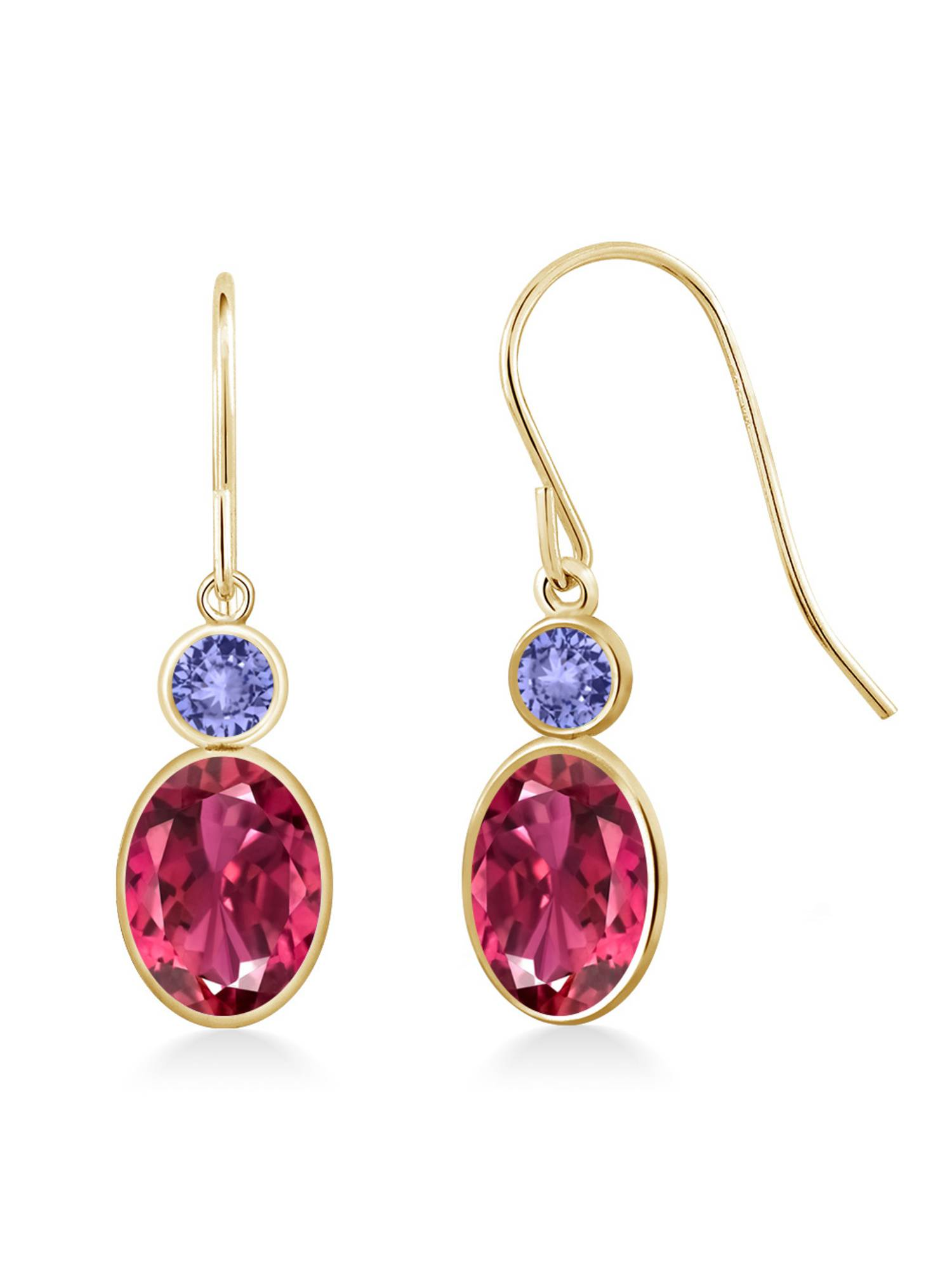 1.94 Ct Oval Pink Tourmaline Blue Tanzanite 14K Yellow Gold Earrings by