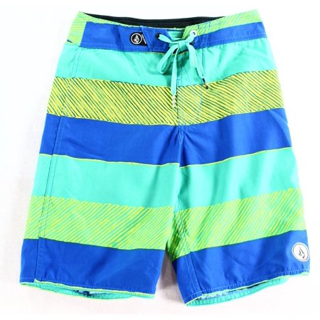 d80823d493 Volcom - Volcom Blue Green Boy's Size 8 Stripe Colorblock Swimwear ...