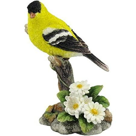 Goldfinch Bird Figurine - Veronese Design WU76213AA Goldfinch Perching on a Branch with Flowers Bird Sculpture