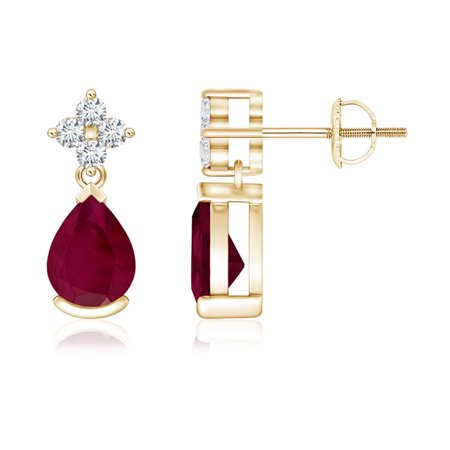 Black Friday Sale - Pear-Shaped Ruby Drop Earrings with Diamonds in 14K Yellow Gold (7x5mm Ruby) - SE0139R-YG-A-7x5