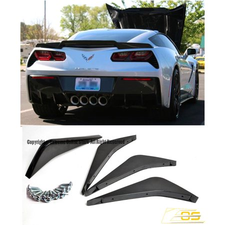 Extreme Online Store for 2014-Present Chevrolet Corvette C7 | EOS ABS Plastic Flat Black Rear Bumper Lower Air Diffuser Fin Lip Spoiler 2 Pairs](Craft Store Online)
