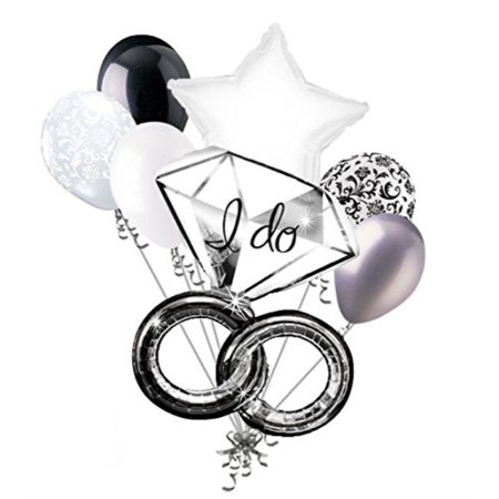 7pc I Do Wedding Ring Diamond Balloon Bouquet Party Decoration Bridal Engagement (How Do You Spell Balloons)