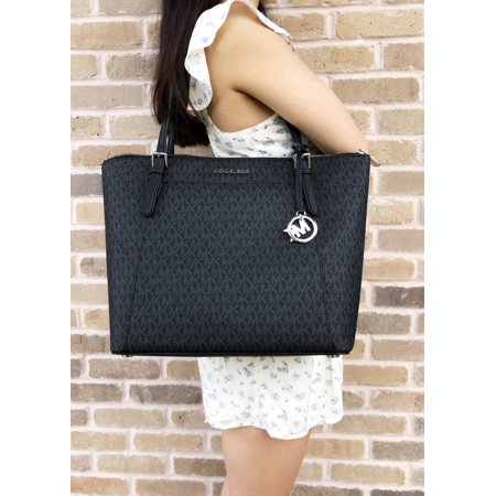 Michael Kors Ciara Large East West Top Zip Tote Black MK Signature Jet (Michael Kors Jet Set Monogram Signature Tote)
