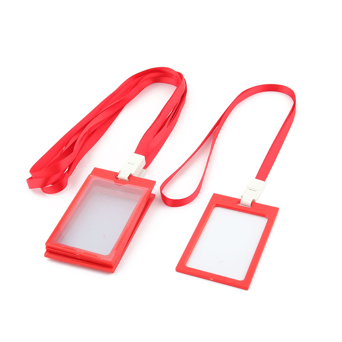 Office School Neck String Lanyard Vertical ID Card Holder Container Red 5 Pcs