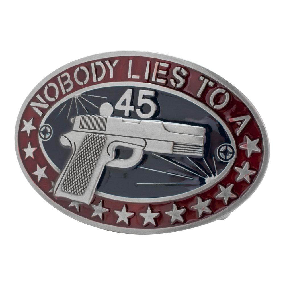 Buckle Rage Nobody Lies To A 45 Gun Southern Western Belt Buckle, BLUE, 235
