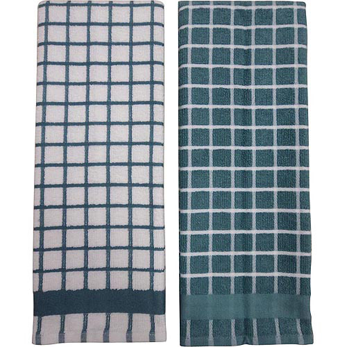 Better Home and Gardens Check Kitchen Towels, Blue, 2-Pack