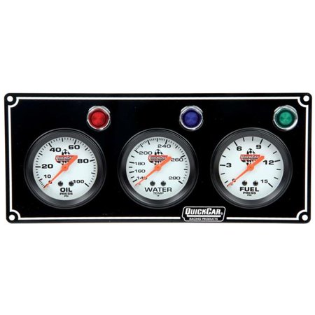 Quickcar Racing Products QRP61-6712 3 Gauge Panel Assembly with Warning Lights - OP-WT-FP, Black - image 1 de 1