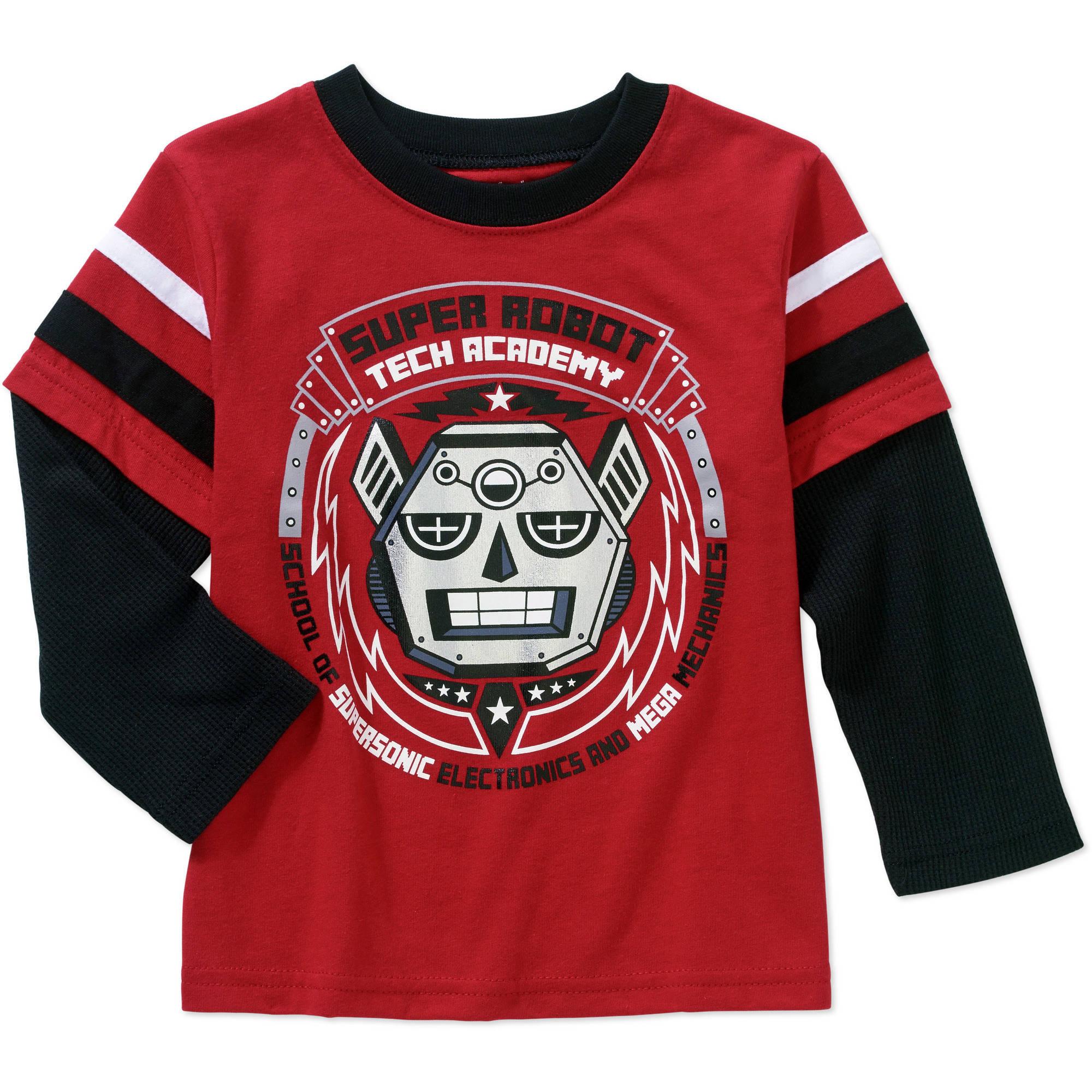 Garanimals Baby Toddler Boys' Long Sleeve Graphic Hangdown Tee Shirt